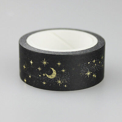 Moon Stars Black Washi Paper Masking Tapes Adhesive Decorative Tape 1.5cm * 5m