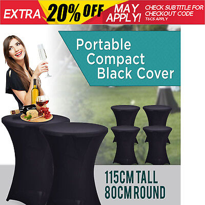 NEW Standing Bar Folding White Table Light Black Cover Portable Party Function