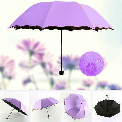 Practical Anti-UV Windproof Parasol Sun/Rain Easy Folding Umbrella Bumbershoot