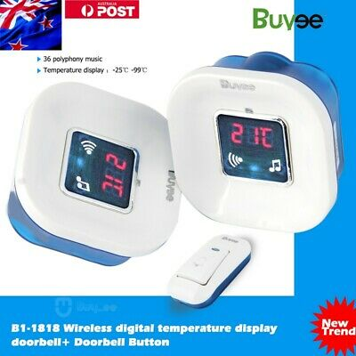 TWIN AU PLUG IN Wireless Cordless Digital Chime Door Bell + Temperature display