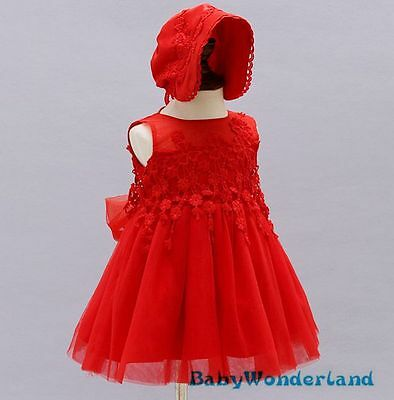 Baby Girls 2PCS Set Red Christening Gown Birthday Party Lace Dress Outfit 0-2Y