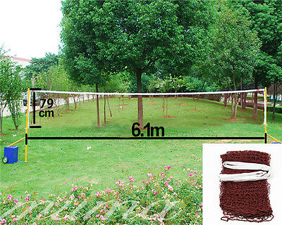 Professional 20' Standard Training Badminton Net 6.1m X 0.79m Outdoor Sports