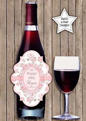 Shabby Pink & White Roses Party Peel & Stick Personalised Wine Bottle Label