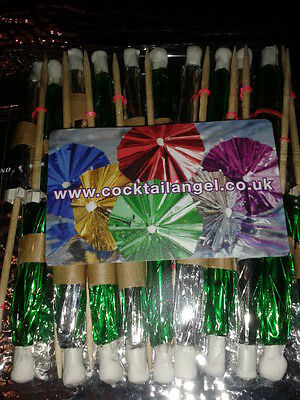 CHRISTMAS DRINK DECORATIONS ASSORTED  FOIL COCKTAIL UMBRELLAS x 20