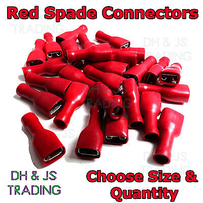 Red Fully Insulated Female Spade Terminals Crimp Connectors Electrical Connector