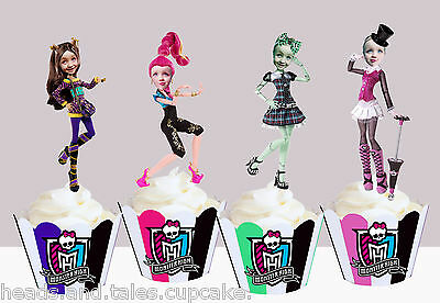 CUSTOM PEOPLE Monster High Dolls toys Birthday Party Cupcake Toppers cup cake