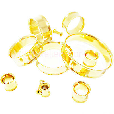2 x Gold Flesh Tunnels Double Flared Ear Plug High Polished Metal Stretcher