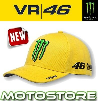 Vr46 Valentino Rossi Monster Energy Cap Official Sponsor Hat Genuine Claw Yellow