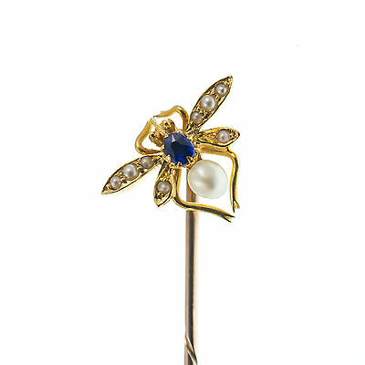 Antique Inspired Insect Stick Pin 9Ct Gold With Sapphire & Pearls