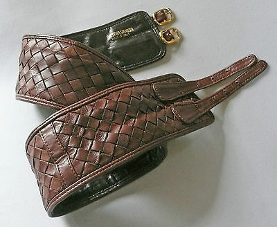 Bottega Veneta cintura in pelle intrecciata e fibbie vintage leather belt  1980s
