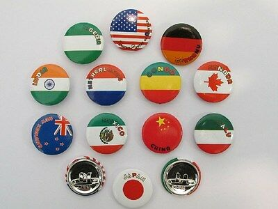 48 FLAGS AROUND THE WORLD PINS party favors FREE S/H button pins world flags