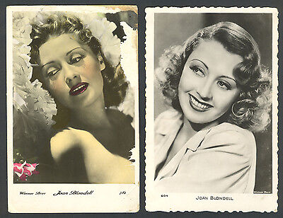 JOAN BLONDELL (Actress) - Set of 2 PHOTO Postcards