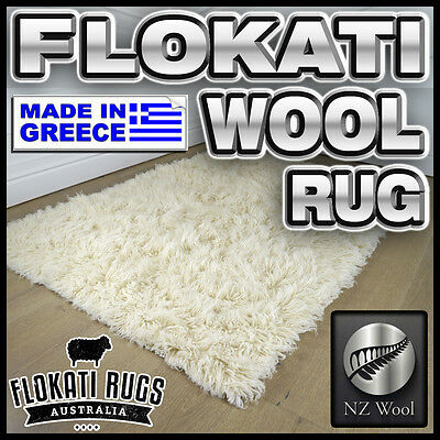 Flokati Wool Rug - NATURAL WOOL - Made In Greece - Shag Greek Large Area Rug NEW