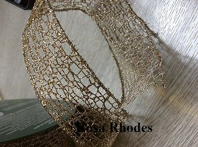 Christmas Wire Edged Ribbon - Gold Sparkley Mesh