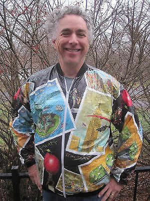Vintage New York Tyvek Jacket w/ Twin Towers Times Square Empire State & Liberty