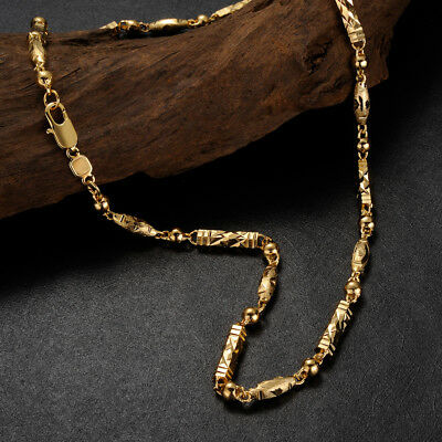 """MENS HEAVY 24K YELLOW GOLD FILLED BEAD NECKLACE CHAIN JEWELRY Gift 22"""""""