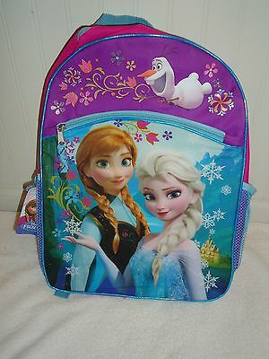 "Nwt Disney Frozen 16"" Backpack Elsa Anna Olaf Pink & Purple"