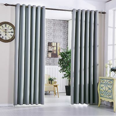 Silver Grey 100% Blackout Curtains Heavy Fabric Thermal Eyelet Bedroom Curtains