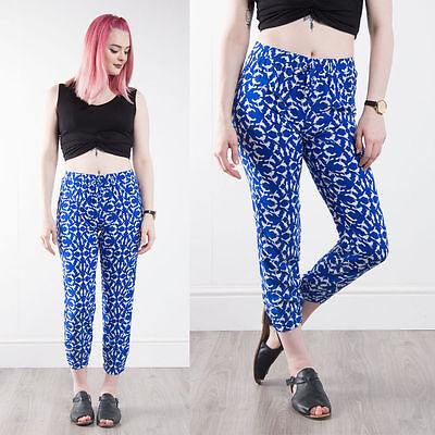 Womens Retro Blue Patterned Casual Summer Trousers High Waist Loose Fit 8
