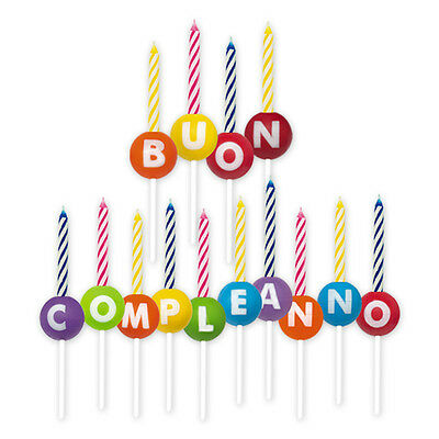 Portacandeline Scritta Buon Compleanno Colorate Candeline Incluse Feste E Party