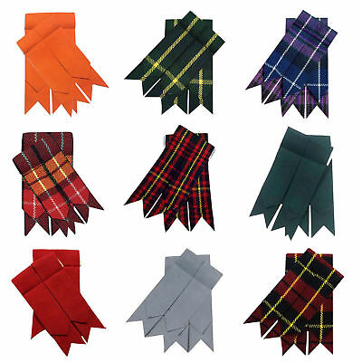 Men's Scottish Kilt Flashes With Garter Various Tartans Pointed/Kilt Hose Sock