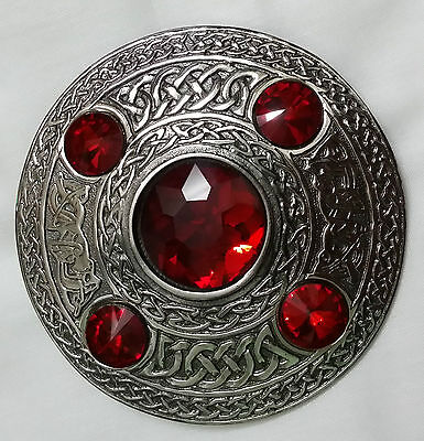 Celtic Fly Plaid Brooch Antique Finish Red Stone/Scottish Kilt Fly Plaid Brooch