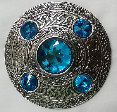 TE Kilt Fly Plaid Ladies Brooch Sky Blue Stone Antique Finish/Tartan Sash Brooch