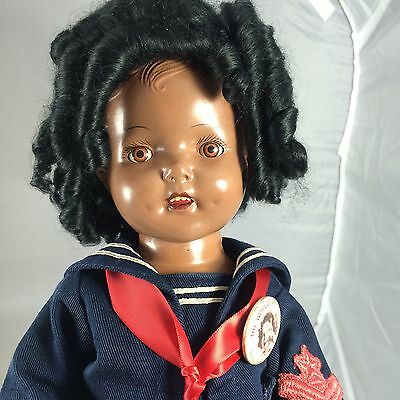 Antique Composition Black Shirley Temple LAL Doll W Tagged Ideal Outfit & Pin!
