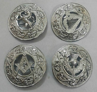 "New Kilt Fly Plaid Brooch Various Design 3"" Silver Finish/Celtic Brooches & Pins"