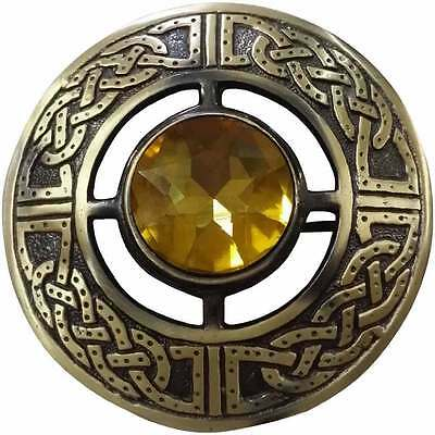 """Men's Celtic Kilt Fly Plaid Brooch Yellow Stone Antique 3""""/Fly Plaid Brooches"""