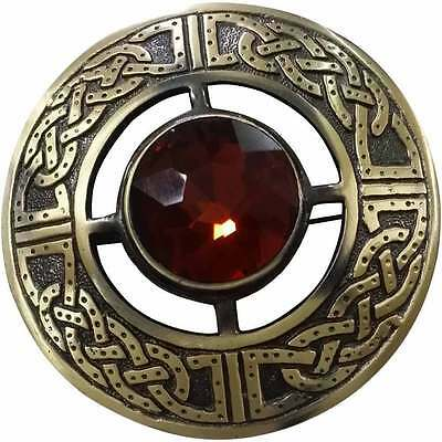 """Men's Celtic Kilt Fly Plaid Brooch Brown Stone Antique 3""""/Fly plaid Brooches"""