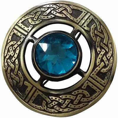 "Men's Celtic Kilt Fly Plaid Antique Brooch Stone Sky Blue 3""/Fly plaid Brooches"