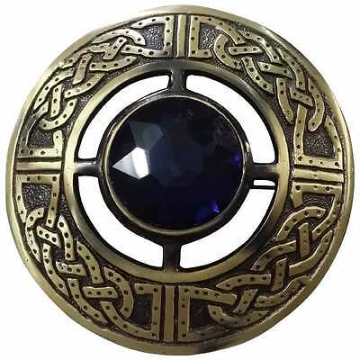 "Men's Celtic Fly Plaid Brooch Purple Stone Antique 3""/Kilt Fly plaid Brooches"