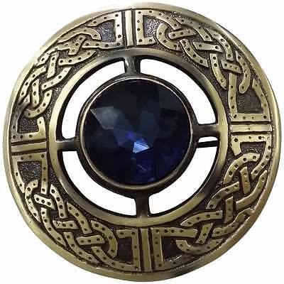 "Men's Celtic Kilt Fly Plaid Brooch Blue Stone Antique 3""/Kilt Fly Plaid Brooches"