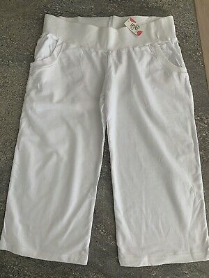 New Maternity White 3/4 Cropped Yoga / Slouch Trousers in Sizes - 8 10 12