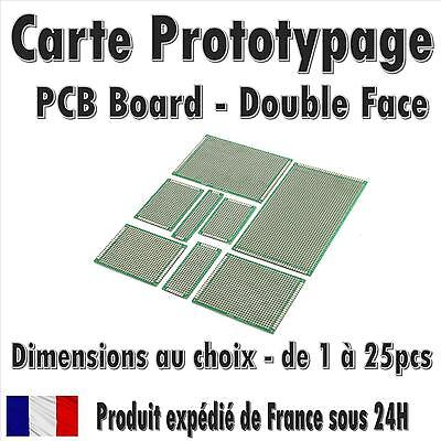 Carte Prototypage - Double face - Pas 2.54mm - (PCB board) - Dimensions au choix