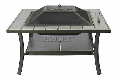 FoxHunter Garden Steel Fire Pit Firepit Brazier Square With Tile Table FP-03 New
