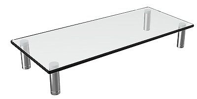 "Computer Monitor Stand Riser Adjustable Height Thick Tempered Glass 22""x 9.5"" In"