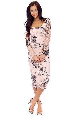 Nude Floral Lace Print Long Sleeve Formal Evening Party Dress 8-16(Was £49.99)