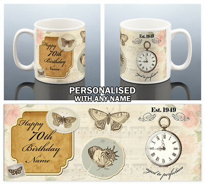 70th BIRTHDAY MUG 1949 Personalised Cup BUTTERFLY 70 Gift For Her Women Mum Nan