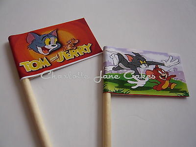 20 Cupcake Flags/toppers - Tom And Jerry Childrens Birthday Party