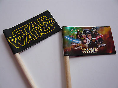 20 Cupcake Flags/toppers - Star Wars Childrens Birthday Party