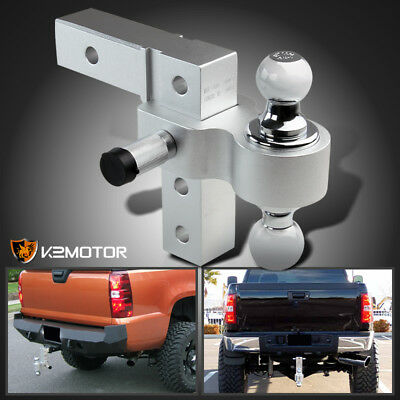 "Fits 2"" Hitch Trailer Receiver Truck RV 6"" Drop Adjustable Aluminum 2-Ball Mount"