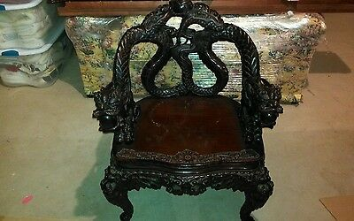 Rare Antique Chair Hand Carved, Beautifully Detailed Dragon great condition.