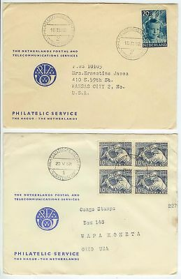 1952 Netherlands covers to US - nice usages