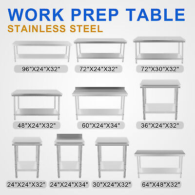New Commercial Stainless Steel Kitchen Work Prep Table NSF Approved (All-Sizes)