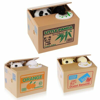 Novelty Stealing Coin Money LITTLE PANDA Piggy Bank Storage Saving Box Gift LWUK