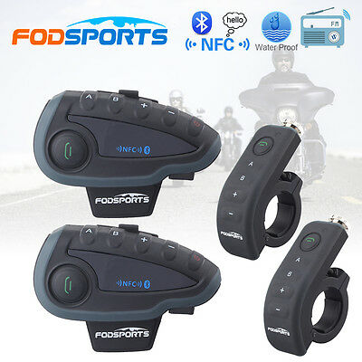 2pcs V8 1200M Bluetooth BT Motorcycle Helmet Intercom Interphone Headset NFC FM
