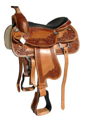 """Western Horse Saddle Brown Leather """"Scout"""" 16"""" or 17"""" seat, 6"""" or 7"""" gullet"""