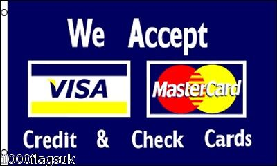 We Accept Visa Debit Cards and Mastercard Shop Sign Advertising POS 5'x3' Flag !